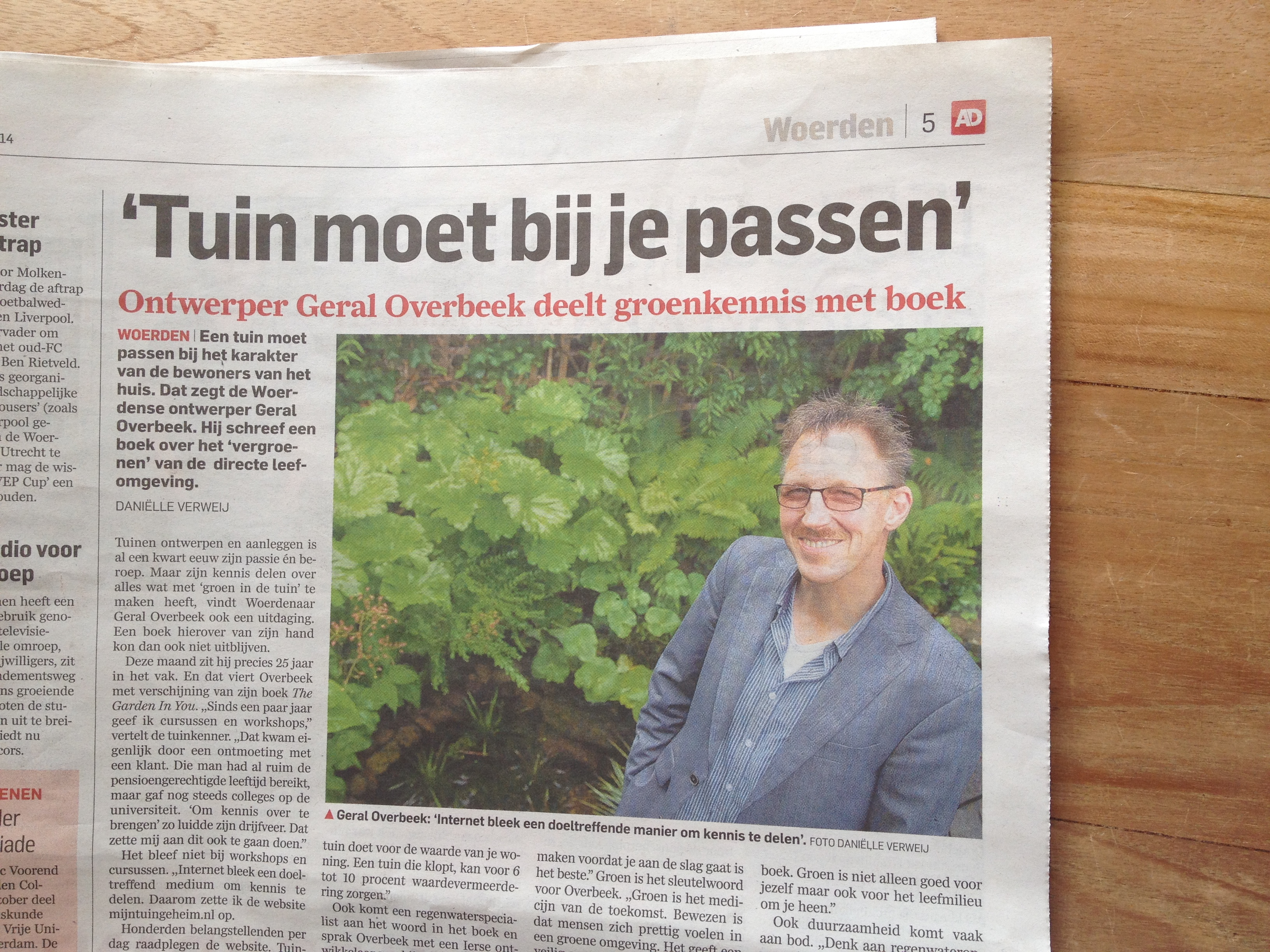 artikel AD groene hart over boek the garden in you